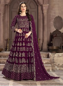 Embroidered Wine Faux Georgette Anarkali Salwar Suit