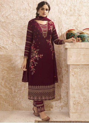 Embroidered Wine Faux Georgette Pant Style Suit