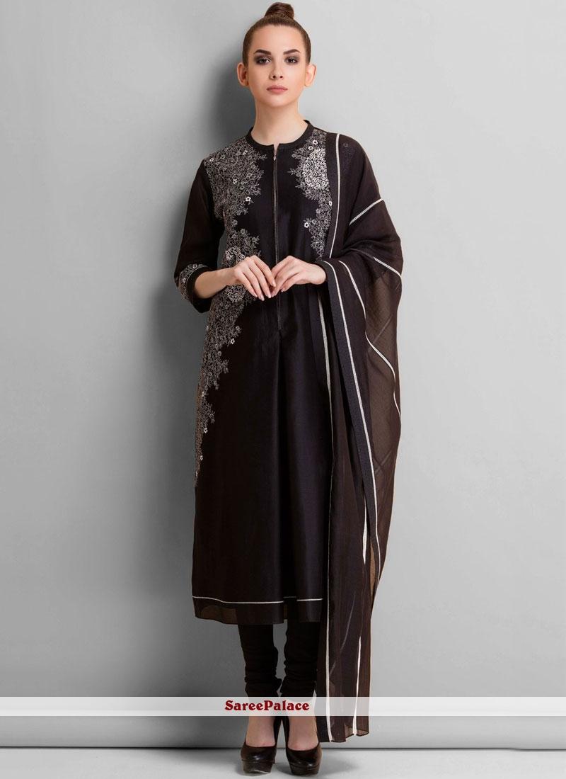 Embroidered Work Art Silk Churidar Designer Suit