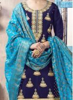 Embroidered Work Art Silk Navy Blue Punjabi Suit