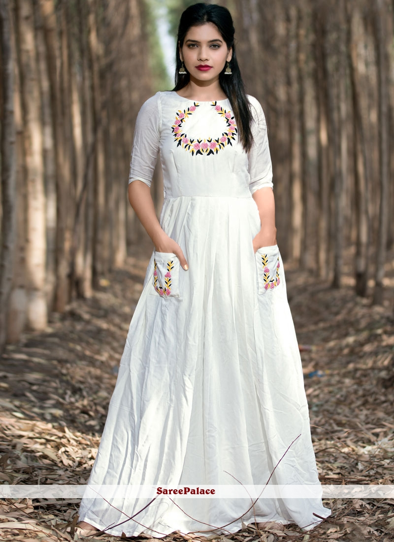 1ad17d94bf7 Buy Embroidered Work Art Silk White Party Wear Kurti Online