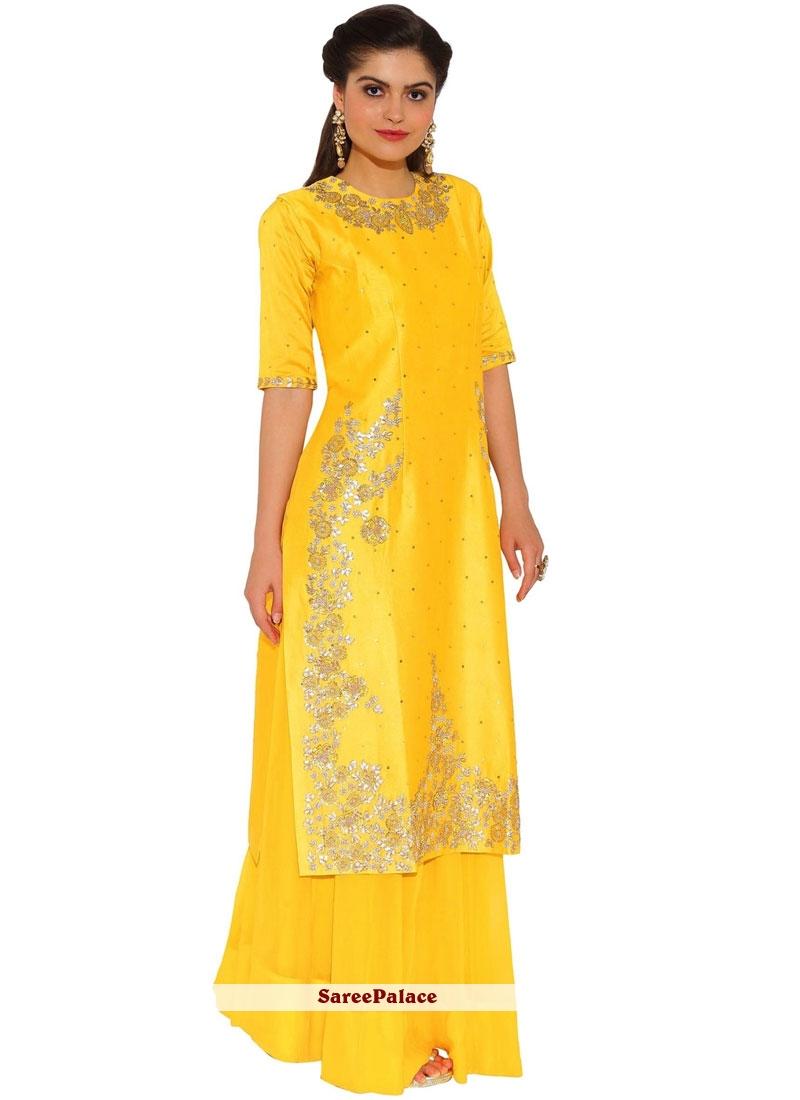 Embroidered Work Art Silk Yellow Designer Palazzo Suit