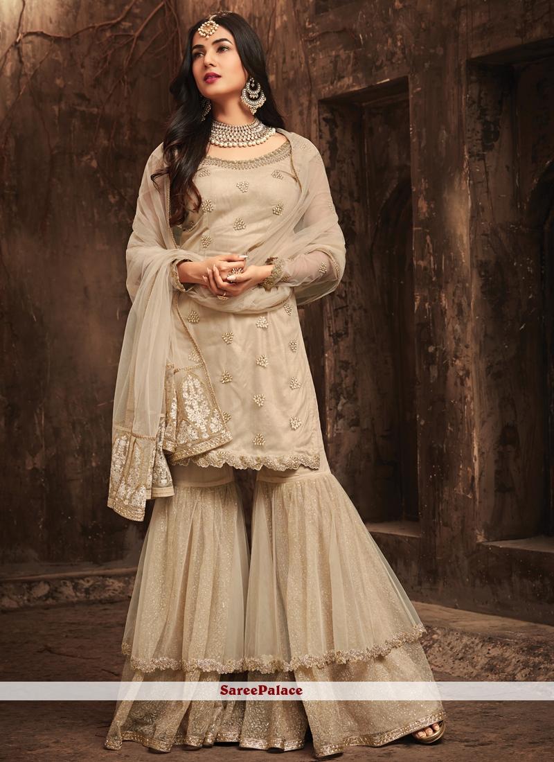 Embroidered Work Beige Designer Pakistani Suit
