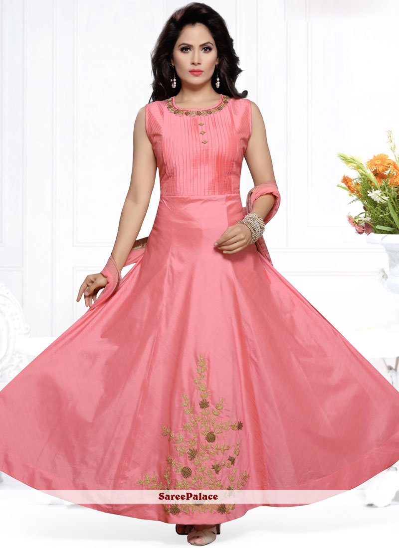 Embroidered Work Chanderi Readymade Anarkali Suit