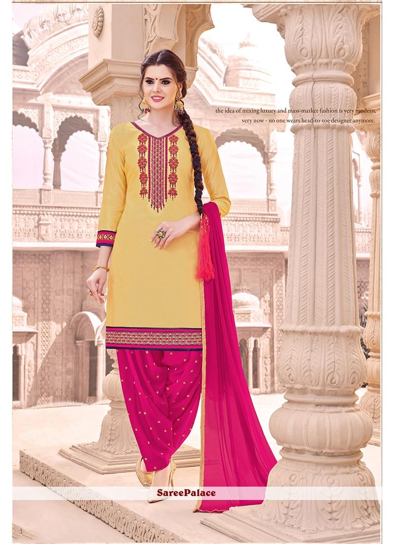Embroidered Work Cotton   Beige Punjabi Suit