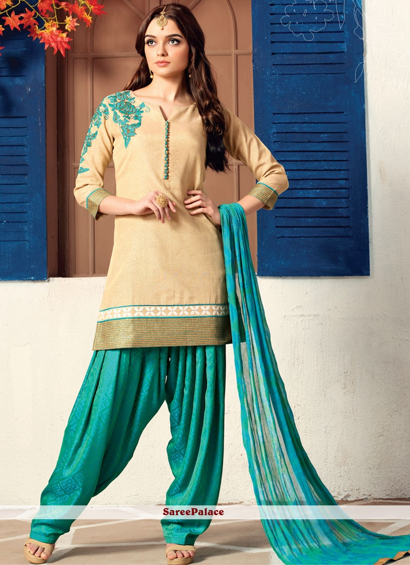 Embroidered Work Dupion Silk Readymade Suit
