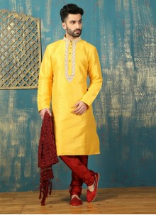 Embroidered Work Dupion Silk Yellow Kurta Pyjama