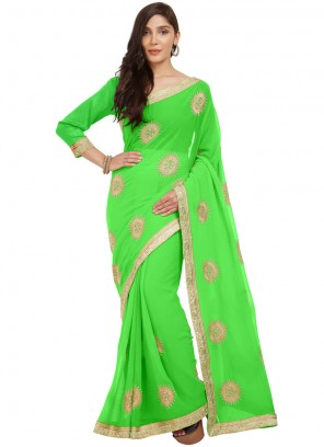 Embroidered Work Faux Chiffon Casual Saree
