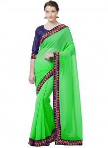 Green Embroidered Work Faux Chiffon Casual Saree