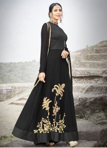 Embroidered Work Faux Chiffon Floor Length Anarkali Suit