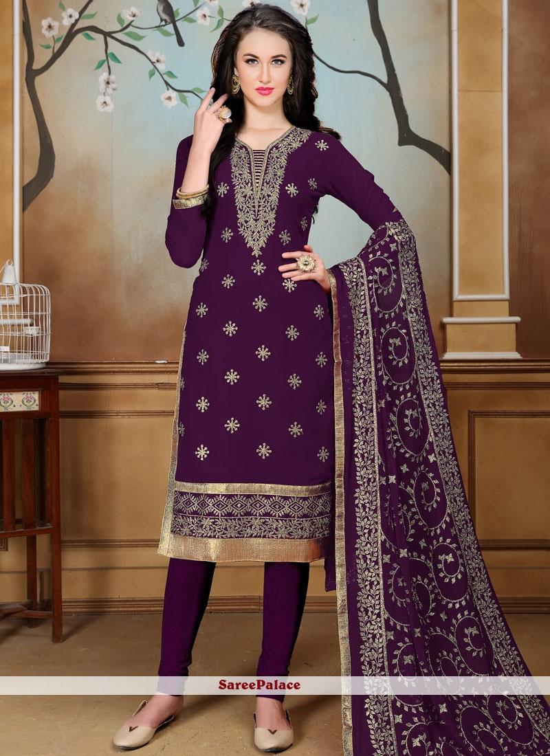 Embroidered Work Faux Georgette Churidar Salwar Suit