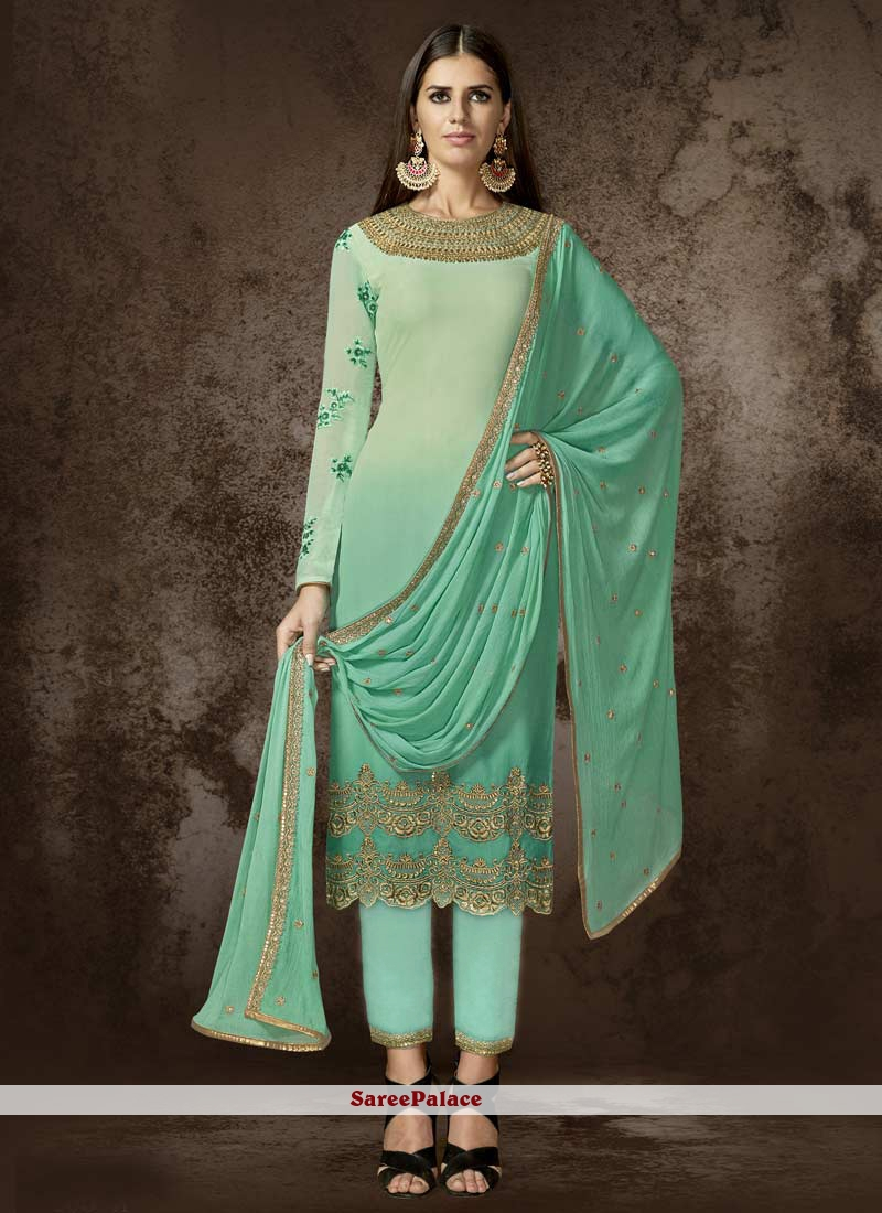 Embroidered Work Faux Georgette Designer Pakistani Suit