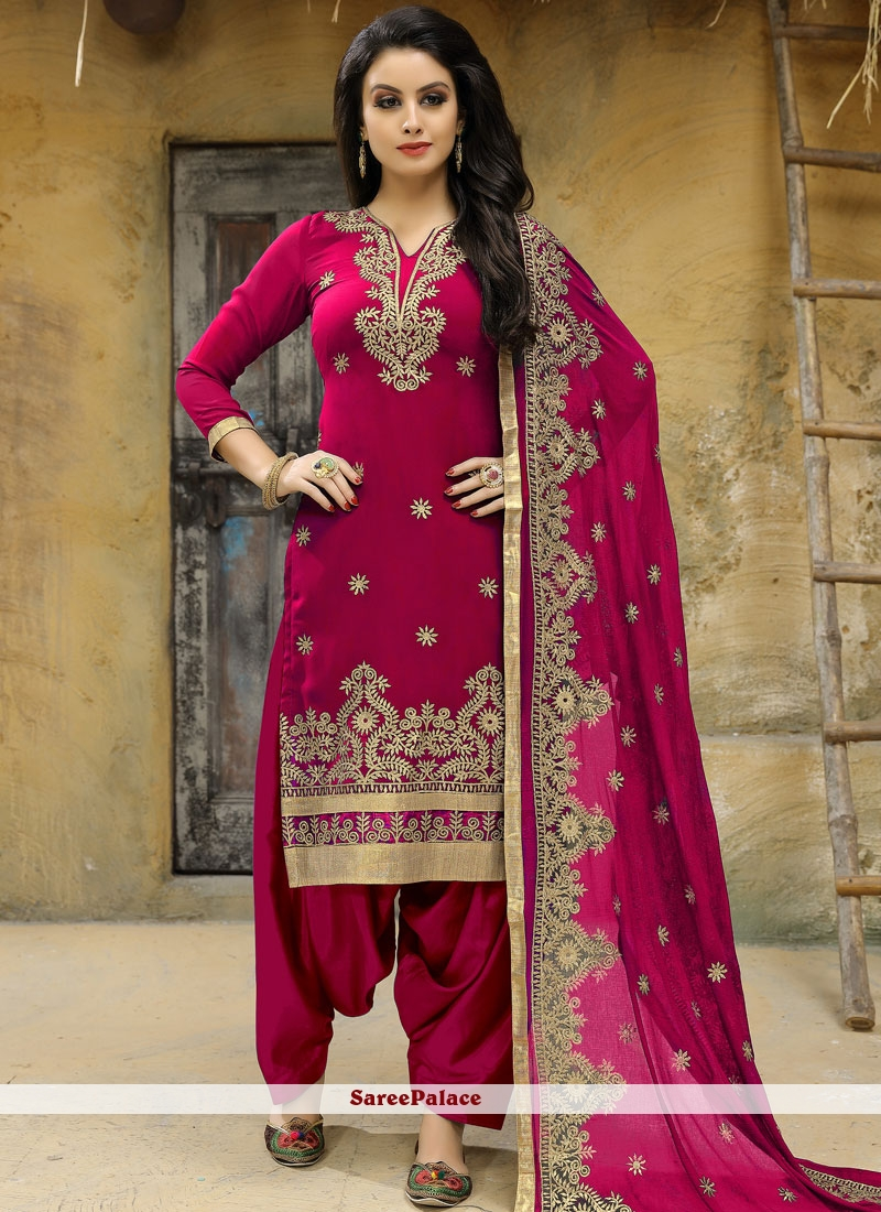 Embroidered Work Faux Georgette Hot Pink Punjabi Suit