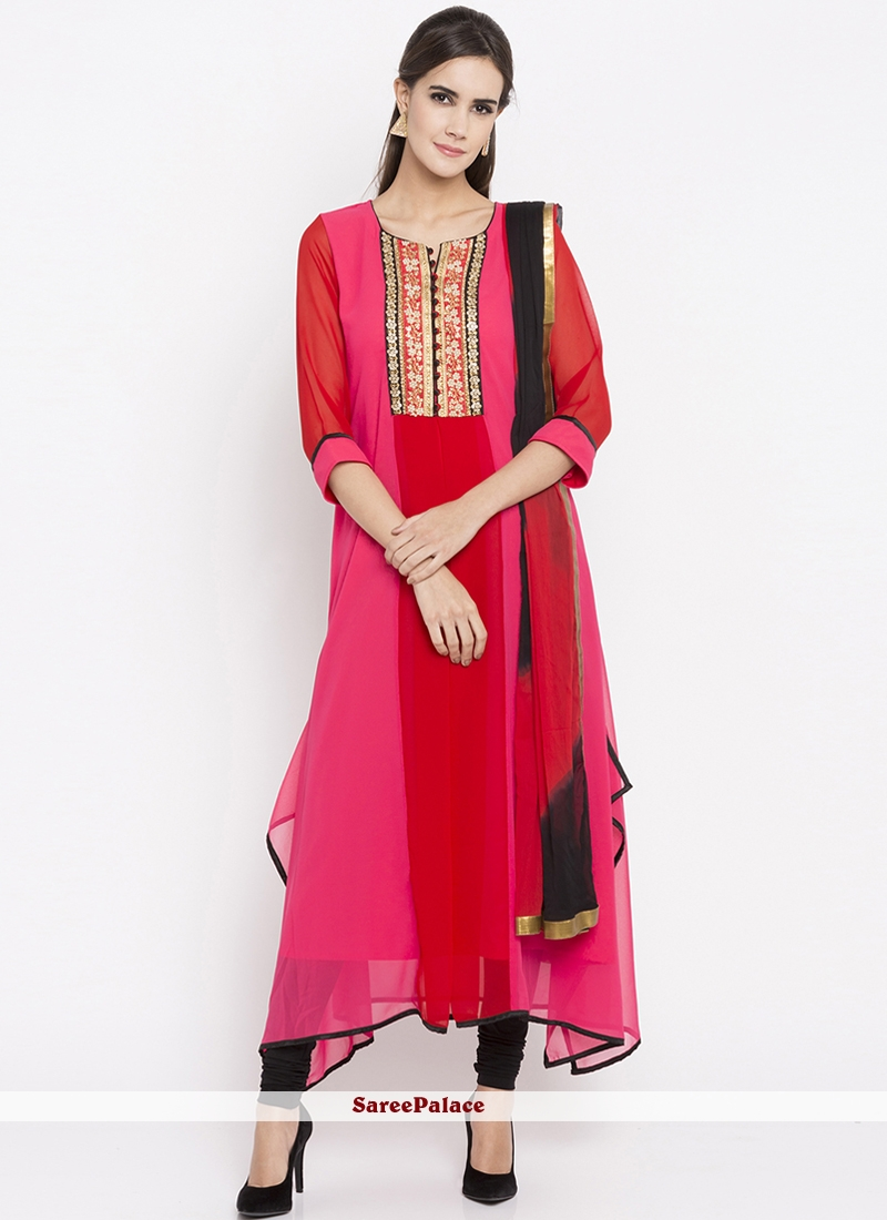 Embroidered Work Faux Georgette Hot Pink Readymade Suit