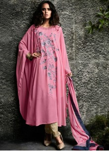 Embroidered Work Faux Georgette Pink Designer Suit
