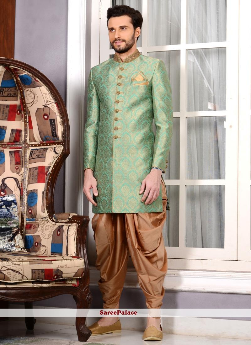 Embroidered Work Jacquard Silk Green Indo Western Sherwani