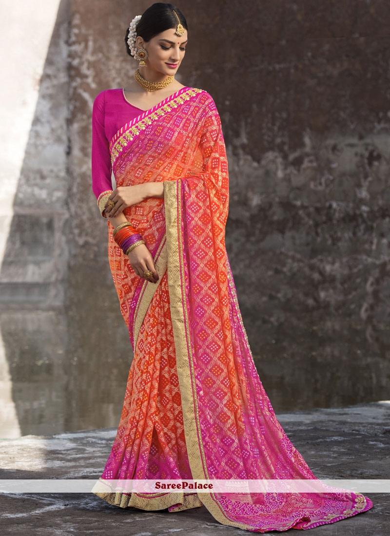 Embroidered Work Peach and Pink Shaded Saree
