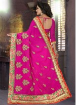 Embroidered Work Pink Classic Saree