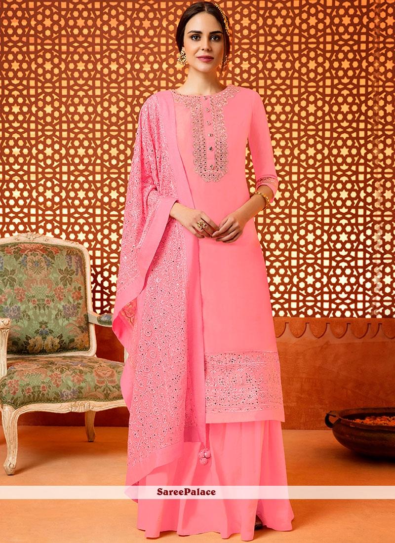 Embroidered Work Pink Silk Designer Palazzo Suit