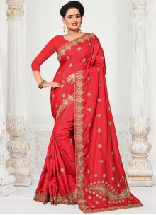 Embroidered Work Red Traditional  Saree