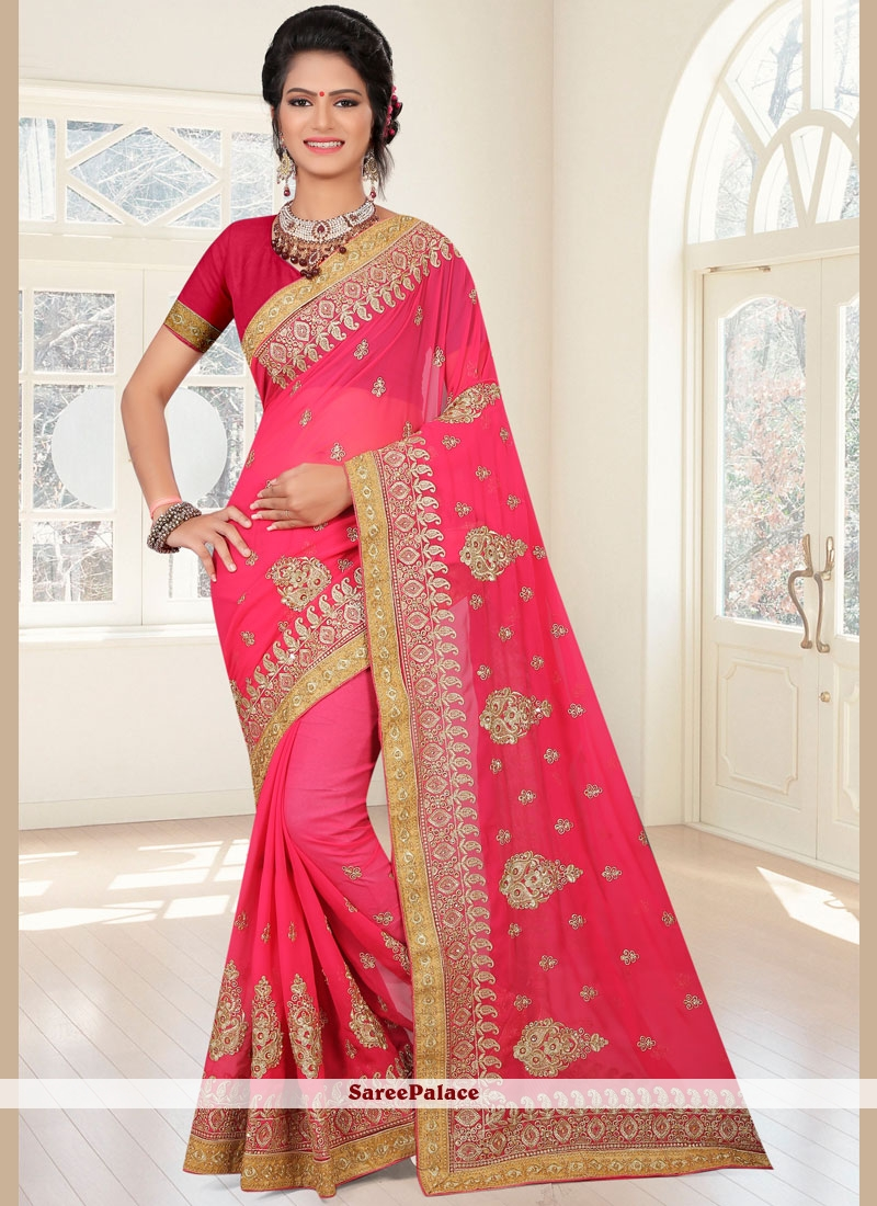 Embroidered Work Rose Pink Faux Georgette Classic Saree