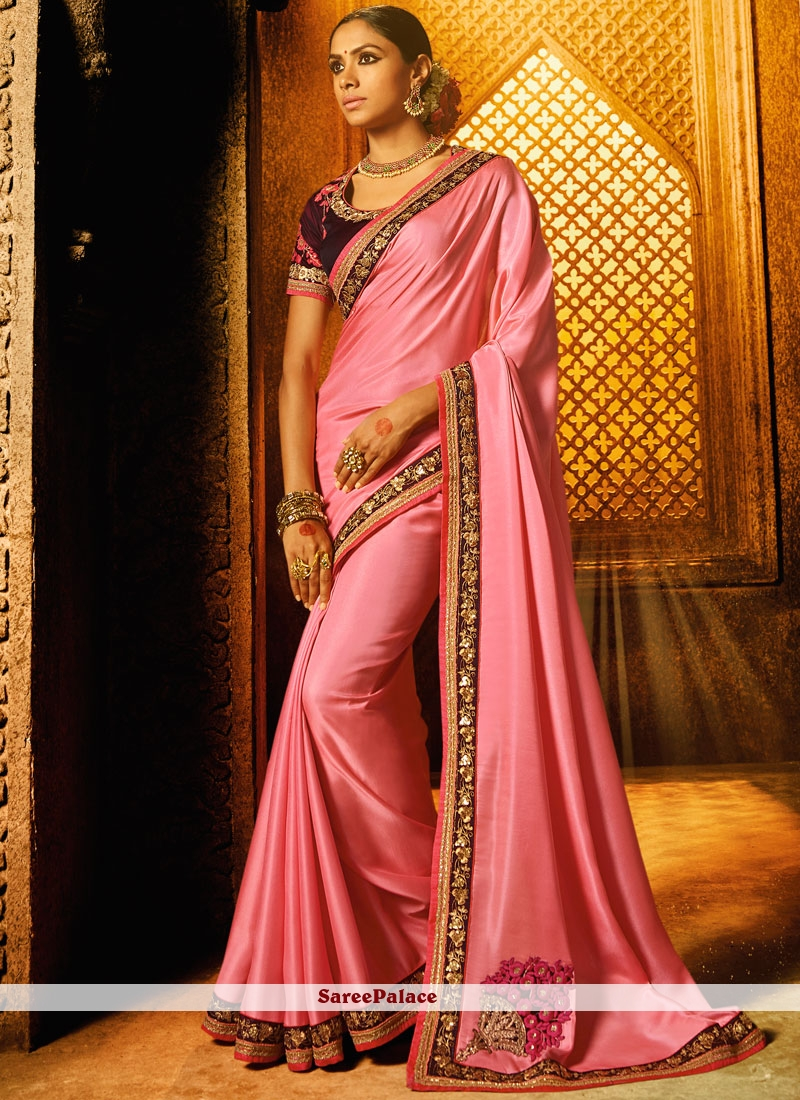 Embroidered Work Satin Classic Designer Saree