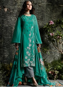 Embroidered Work Sea Green Faux Georgette Designer Suit
