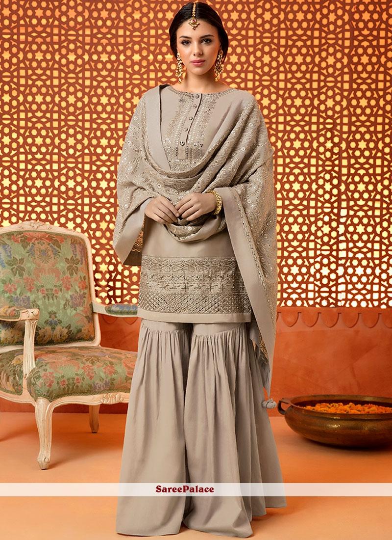 Embroidered Work Silk Designer Palazzo Salwar Kameez