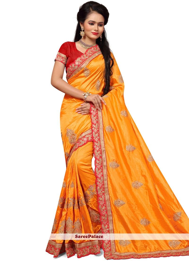 Embroidered Work Silk Traditional Designer Saree
