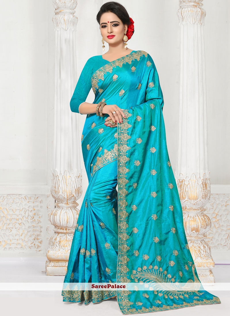 Embroidered Work Silk Traditional  Saree