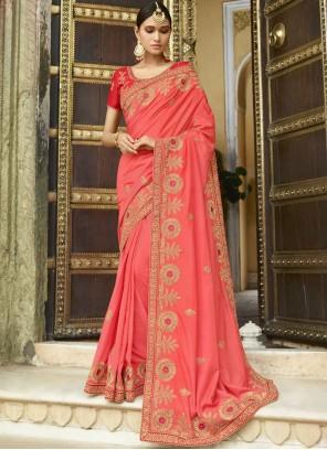 Embroidered Work Silk Trendy Saree