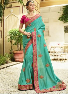 Embroidered Work Teal Silk Trendy Saree