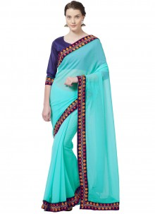 Embroidered Work Turquoise Casual Saree