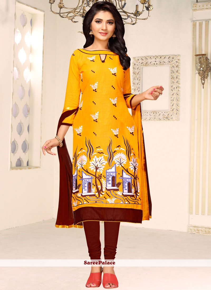 Embroidered Work Yellow Churidar Suit