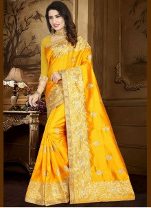 Embroidered Work Yellow Designer Traditional Saree