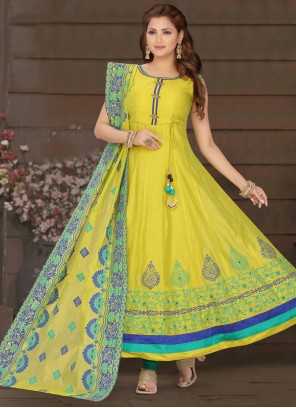 Embroidered Yellow Chanderi Readymade Suit