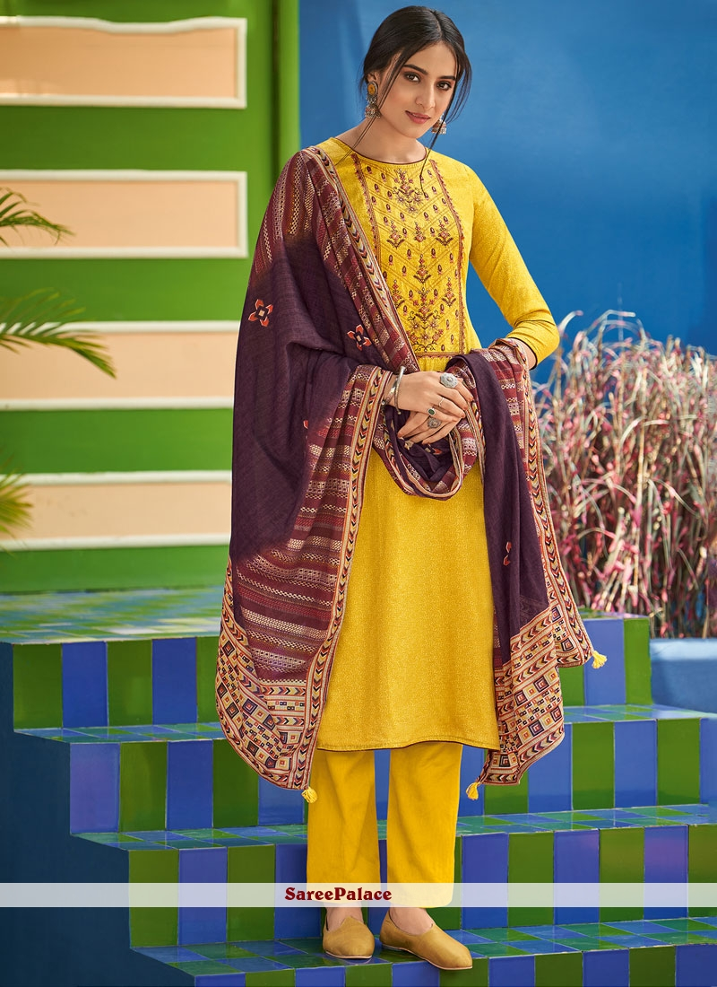 Embroidered Yellow Cotton Salwar Kameez
