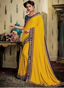 Embroidered Yellow Designer Saree