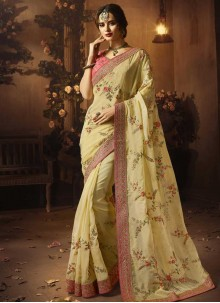 Embroidered Yellow Designer Traditional Saree