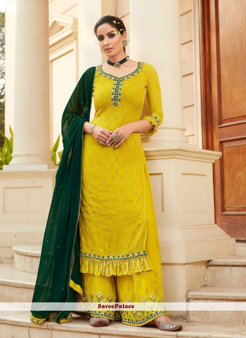 Embroidered Yellow Faux Georgette Designer Palazzo Salwar Kameez