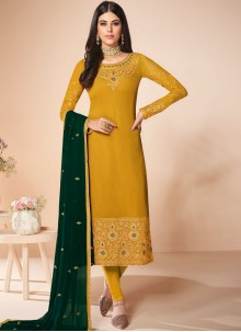 Embroidered Yellow Georgette Salwar Suit