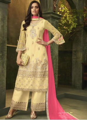 Embroidered Yellow Net Designer Palazzo Salwar Suit