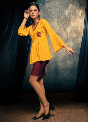 Embroidered Yellow Party Wear Kurti