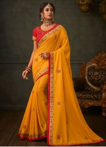 Embroidered Yellow Poly Silk Classic Saree