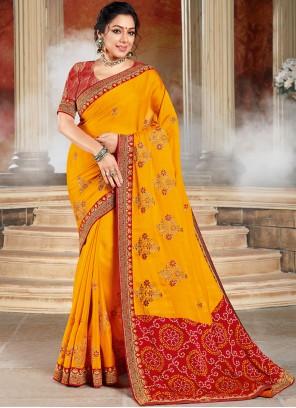 Embroidered Yellow Rupali Ganguly Designer Saree