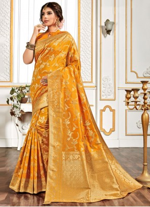 Embroidered Yellow Traditional Designer Saree