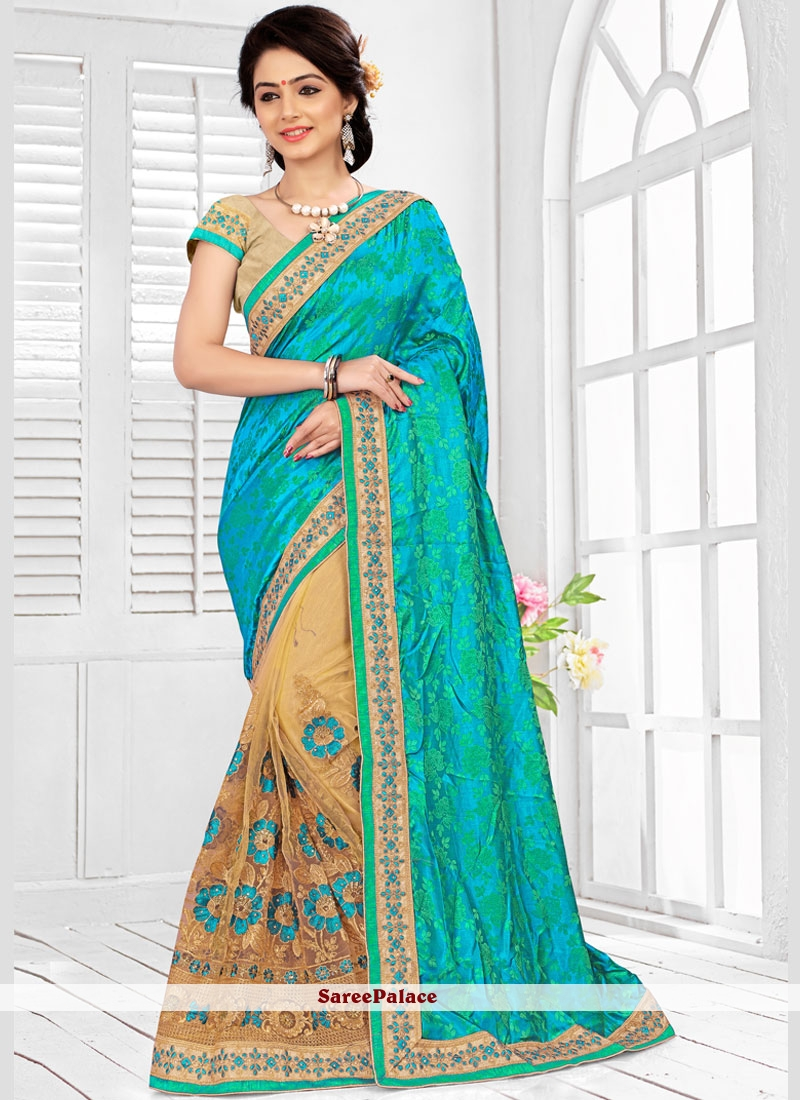 Enchanting Beige and Sea Green Net Half N Half Designer Saree