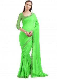Enchanting Faux Chiffon Green Casual Saree