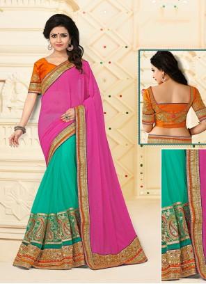 Enchanting Net Patch Border Work Designer Half N Half saree