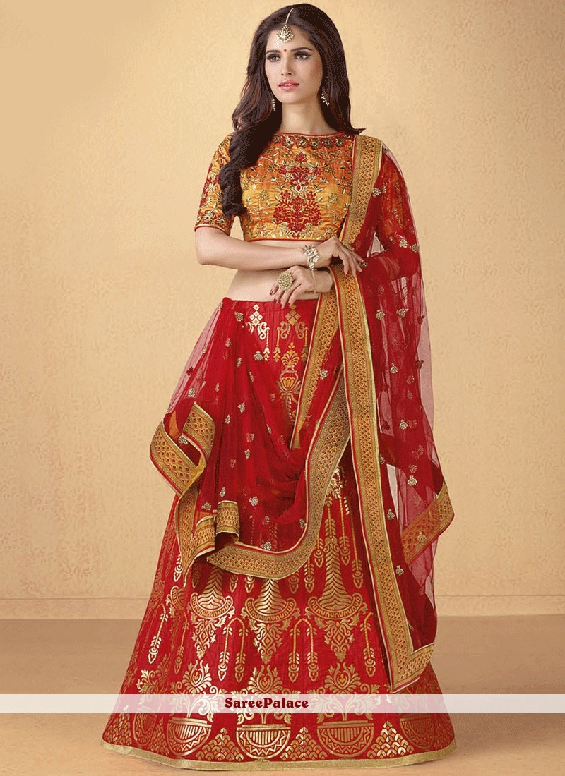 c6bc23cbd Buy Enchanting Patch Border Work Banarasi Silk Lehenga Choli Online
